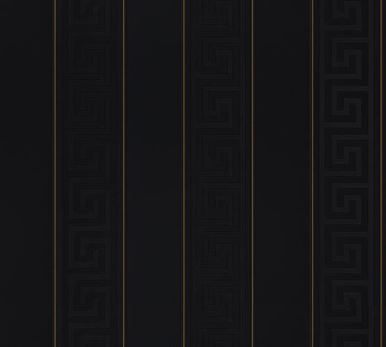 Wallpaper Versace Home stripes black gold metallic 93524-4