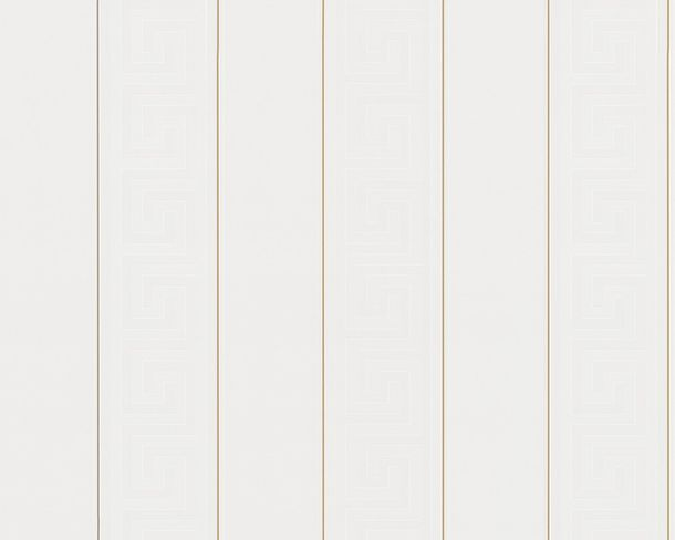 Wallpaper Versace Home stripes greek white gold 93524-1