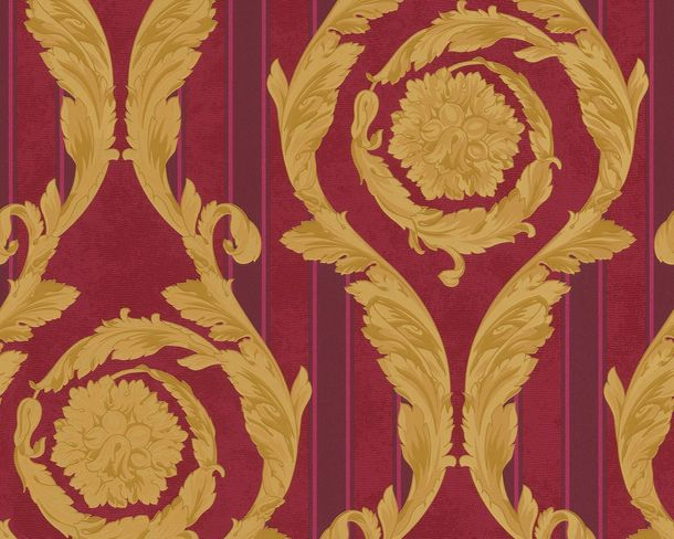 Wallpaper Versace Home baroque bordeaux gold 93568-3