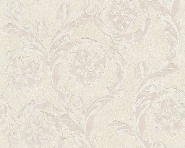 Wallpaper Versace Home baroque white cream metallic 93588-1