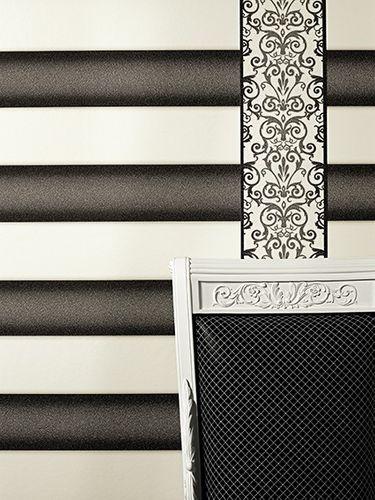 Wallpaper Border Versace Home baroque texture white anthracite 93547-2 online kaufen