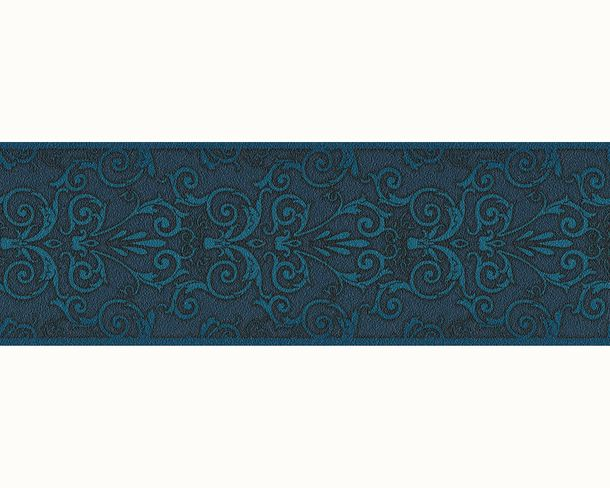 Wallpaper Border Versace Home baroque texture blue turquoise 93547-4