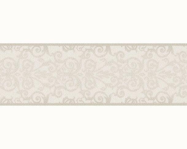 Wallpaper Border Versace Home baroque texture white grey silver 93547-1