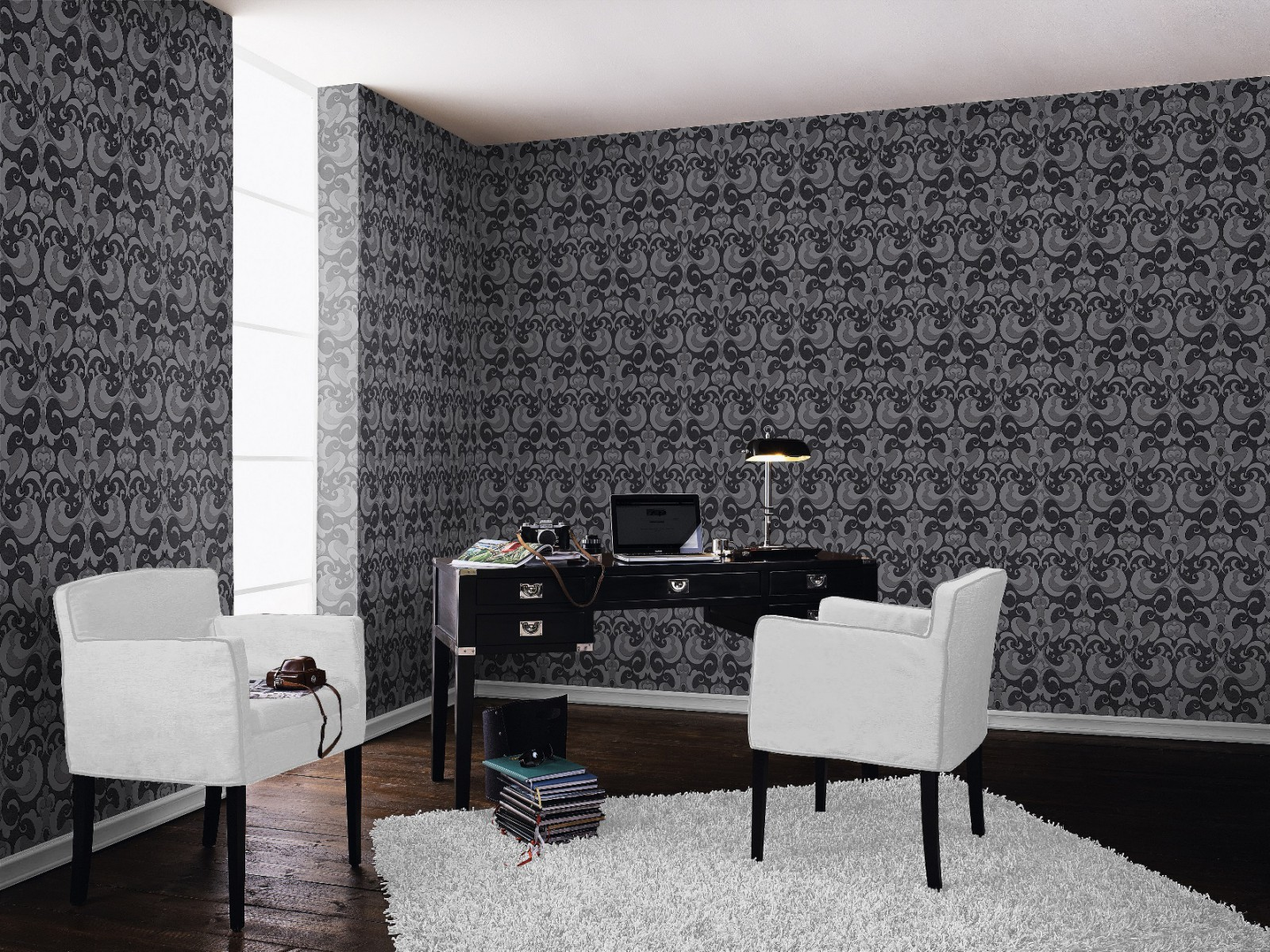 tapete rasch ornamente 507423 schwarz silber. Black Bedroom Furniture Sets. Home Design Ideas