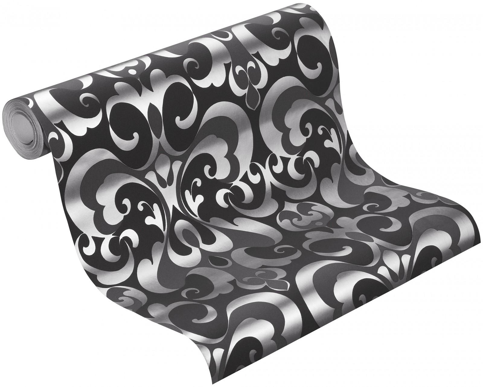wallpaper rasch bestseller wallpaper ornaments 507423 black silver. Black Bedroom Furniture Sets. Home Design Ideas