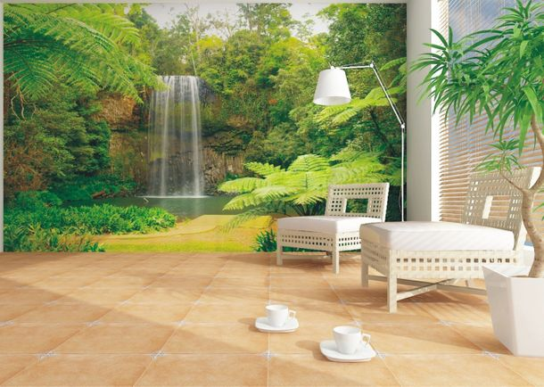 Wall mural wallpaper jungle downfall poster 127 cm x 180 cm / 1.39 yd x 1.97 yd online kaufen