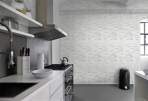 Rasch Aqua Deco non-woven wallpaper 770421 kitchen motif coffee cafe white grey online kaufen