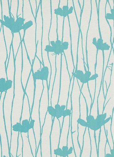 Erismann non-woven wallpaper Fizz 6817-08 681708 vines flowers stripes white turquoise online kaufen