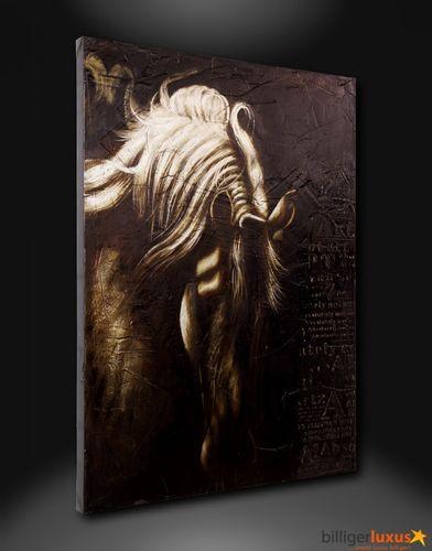 Ölgemälde Leinwand 93x123 Wandbild Pferd silber schwarz online kaufen