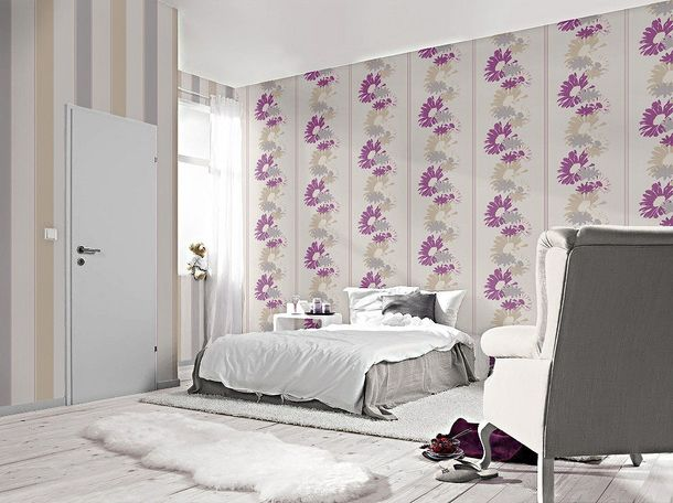 wallpaper Rasch Perfecto non-woven wallpaper 496536 flower cream beige grey magenta online kaufen