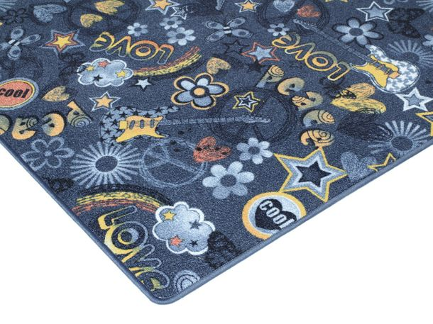 Carpet Youth Rug Hippie Font blue