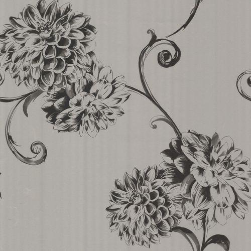 Vliestapete Rasch Textil Blume silber schwarz 67358