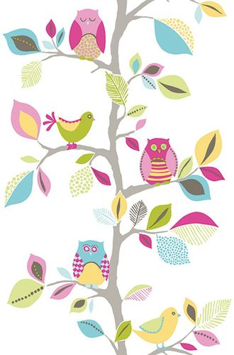 Pop Up Panel adhesive Dekopanel Owls rose