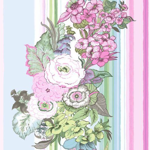 Rasch Textil Pretty Nostalgic non-woven wallpaper 138113 stripes floral rose blue