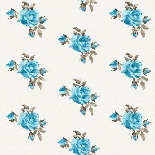 Tapete Rasch Textil Floral weiß türkis 138146 online kaufen