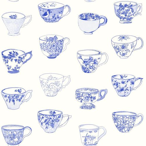 Rasch Textil Pretty Nostalgic non-woven wallpaper 138152 cup white blue