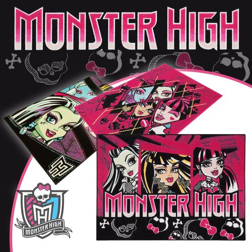 Carpet kids carpet Monsters High 3 Designs play carpet 95x133 cm / 37.4 '' x 52.36 '' purple black