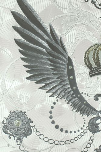 Wallpaper Glööckler crown wings grey Metallic 54456
