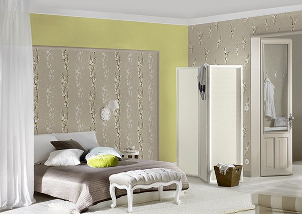 Non-woven wallpaper AS Creation Andora 95323-1 953231 floral vines greybeige greenyellow online kaufen