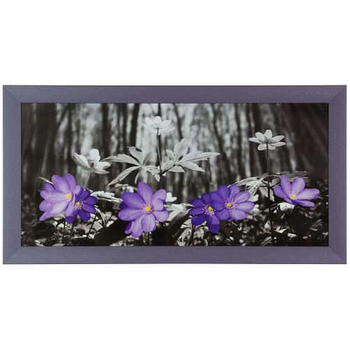 Mural Art Print Framed flowers forrest black white purple 33x70cm 12.99x27.56""