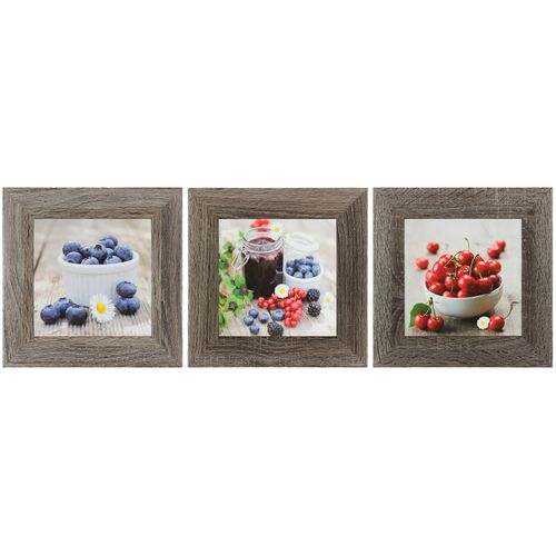 Set of 3 murals fruits cherries berries purple red grey 23x23cm 9.06 x9.06