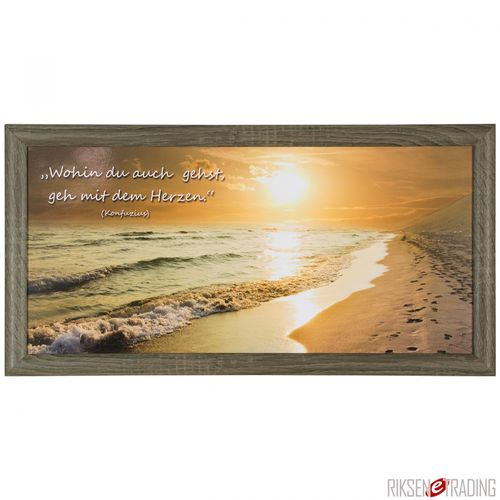 "Canvas print picture quote sunset beach brown beige 23x49cm 9.06""x19.29"""
