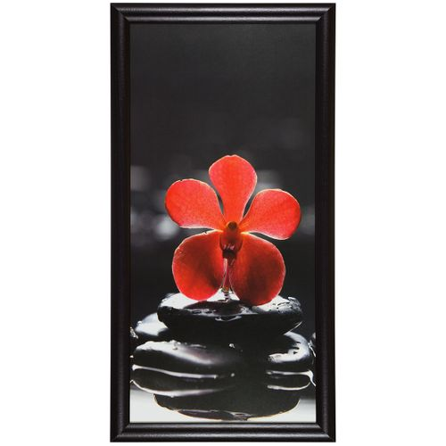 "Canvas print picture wellness flower stones black red 23x49cm 9.06"" x 19.29"""