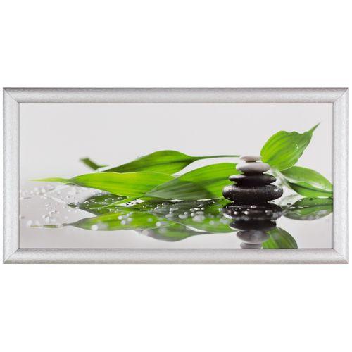 Bild Kunstdruck 23x49 cm Pflanze Steine grün weiß grau