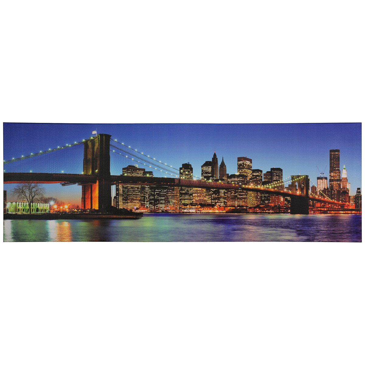 wandbild keilrahmen kunstdruck 50x150 brooklyn bridge new york nacht skyline. Black Bedroom Furniture Sets. Home Design Ideas