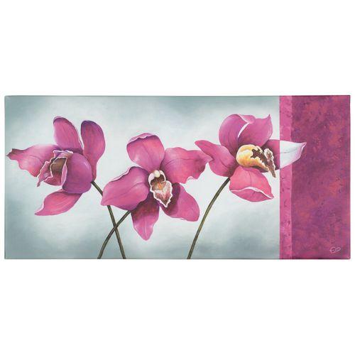 Wandbild Kunstdruck 33x70 Blumen Orchideen grau lila