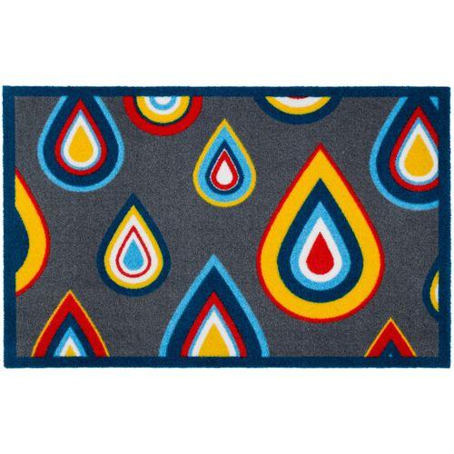 Designer door mat dirt-catching mat Lars Contzen Pretty Drips 66x100 cm / 25.98 '' x 39.37 '' grey blue online kaufen