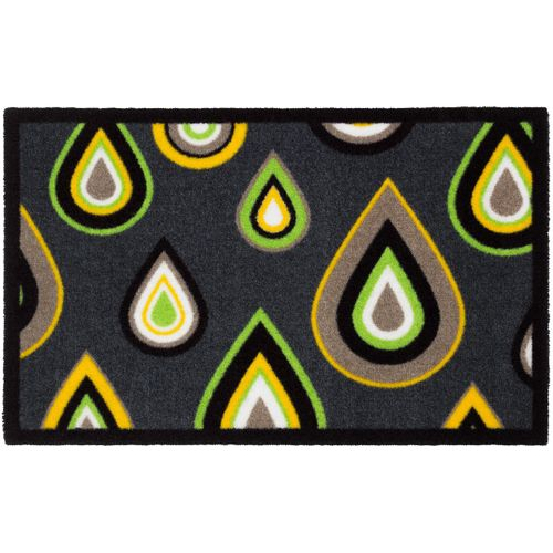 Designer door mat dirt-catching mat Lars Contzen Pretty Drips 50x78 cm / 19.69 '' x 30.71 '' green grey online kaufen