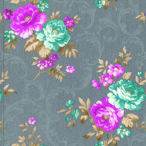 Rasch Textil Golden Memories vinyl wallpaper 324302 floral silver pink metallic