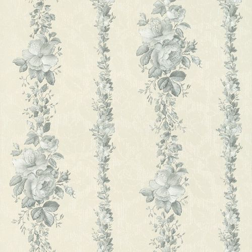 Rasch Textil Golden Memories vinyl wallpaper 324623 stripes floral white silver