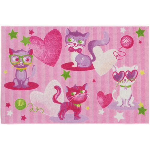 Carpet kids carpet modern cats play carpet 80x120 cm / 31.5 '' x 47.24 '' pink rose