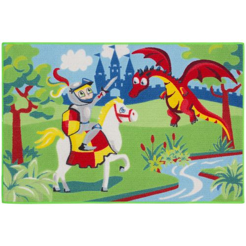 Carpet kids carpet knight dragon play carpet 80x120 cm / 31.5 '' x 47.24 '' green blue