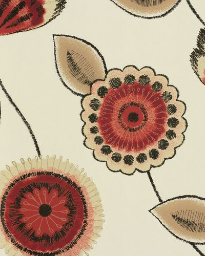 Graham & Brown wallpaper Bohemia 20-601 20601 floral white red beige online kaufen