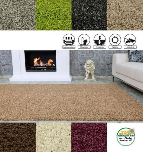 FancyHomeTrends Shaggy Carpet / rug Fancy Shaggy grey in 13 different sizes