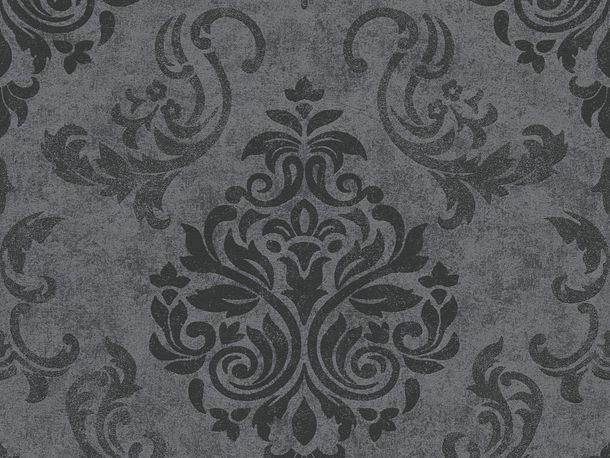 Wallpaper baroque glitter AS Creation black grey 95372-3