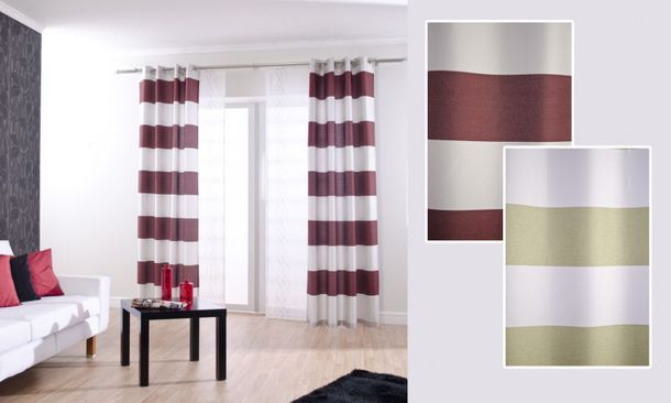 Homing eyelet curtain Burbank OEKO-TEX non-transparent 140x245 stripes 3 colors online kaufen