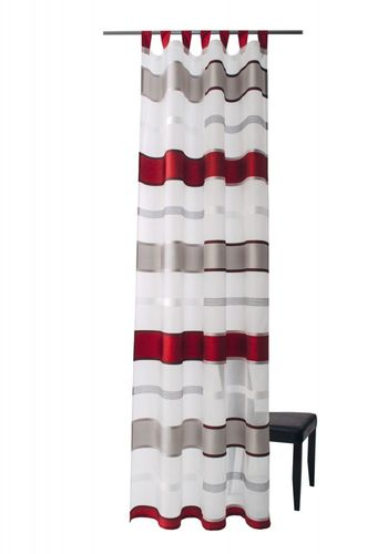 Loop curtain Cosoria semitransparent stripes 5614-07 red
