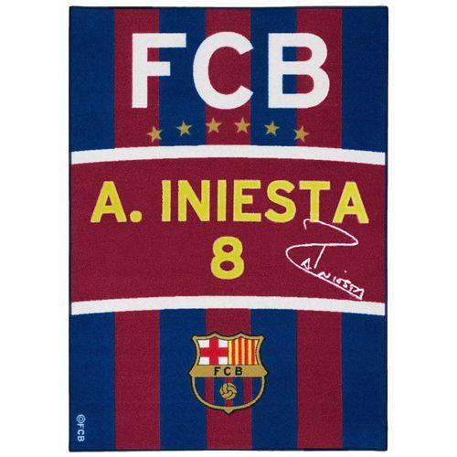 Fanteppich Spielteppich Barcelona Iniesta 95x133 blau rot online kaufen