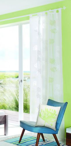 Loop curtain Elbersdrucke Sweet Love 00 semi-transparent burnout fabric white online kaufen