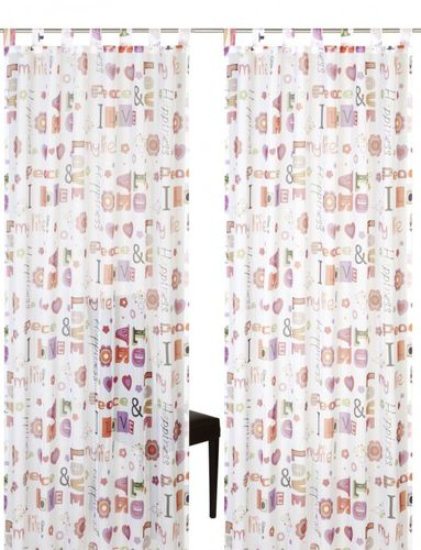 Loop curtain Elbersdrucke Kids' Club Happiness 05 transparent curtain orange online kaufen