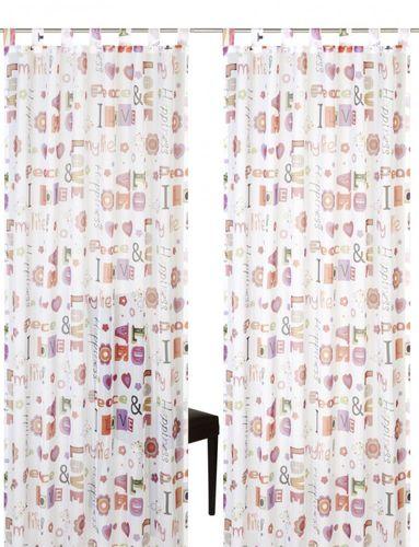 Loop curtain Elbersdrucke Kids' Club Happiness 05 transparent curtain orange online kaufen