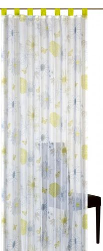 Loop curtain Elbersdrucke Floral Flower Mix 03 transparent curtain green