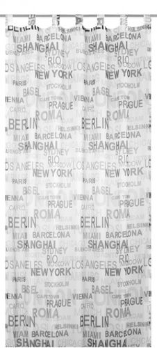Loop curtain Elbersdrucke City 07 transparent curtain black white