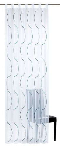 Loop curtain Elbersdrucke Serpentine 01 transparent curtain white blue online kaufen