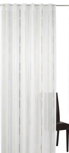 Loop curtain Elbersdrucke Calypso 03 semi-transparent curtain green brown