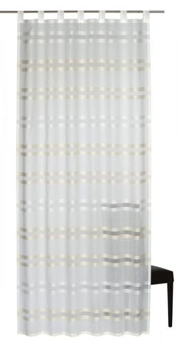 Loop curtain Elbersdrucke Kiruna 09 semi-transparent curtain white beige